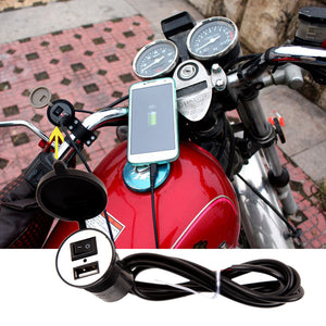 BROSintl motorcycle usb charger with handlebar mounting on motor bikes from shop.brosled.com