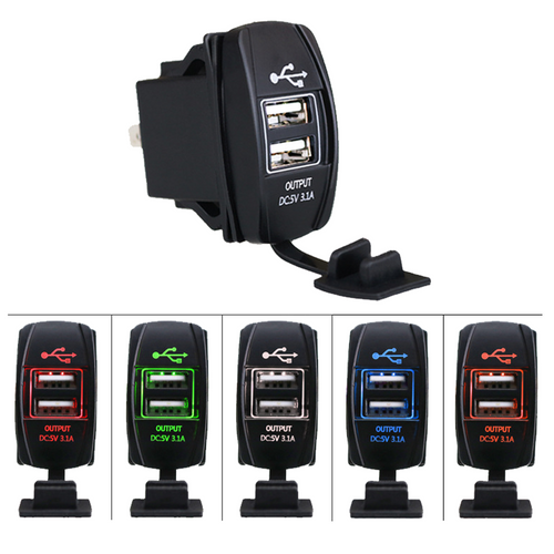 12V 3.1A Power Socket Rocker Switch Dual USB Charger Switch Mount for Boat Polaris Ranger RV Car - BROS International Co., Limited