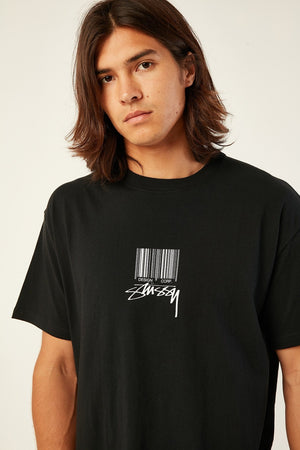 STUSSY BARCODE SS TEE BLACK