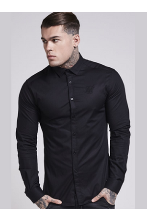 SIKSILK Cotton Stretch Shirt - Black