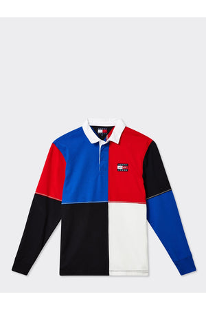 TOMMY JEANS STREET ARCHIVES UNISEX COLOUR BLOCKED RUGBY SHIRT COBALT