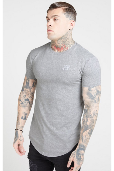 SIKSILK SHORT SLEEVE GYM TEE - GREY MARL