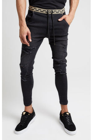 SIKSILK ELASTICATED WAIST SKINNY DISTRESSED DENIM - BLACK