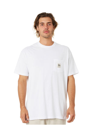STUSSY WORK LABEL POCKET SS TEE WHITE