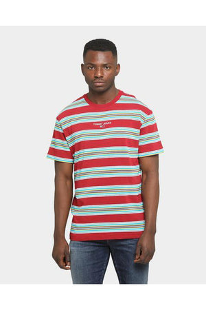 TOMMY JEANS TJM STRIPE LAYOUT TEE WINE RED