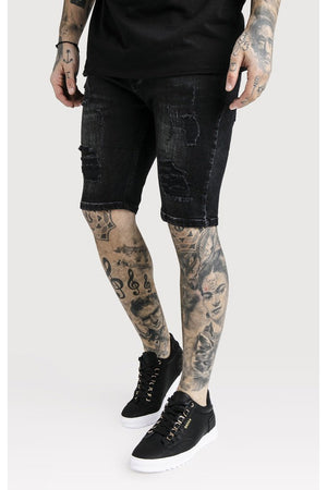 SIKSILK DISTRESSED SKINNY SHORTS - WASHED BLACK