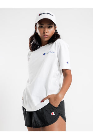 CHAMPION WOMENS HERITAGE BOYFRIEND TEE WHITE