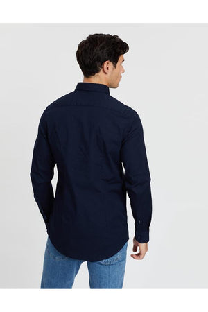TOMMY HILFIGER CORE STRETCH SLIM POPLIN SHIRT SKY CAPTAIN