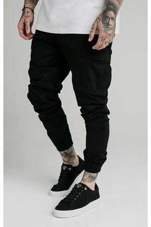 SIKSILK CARGO PANTS - BLACK