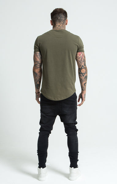 SIKSILK SHORT SLEEVE GYM TEE - KHAKI