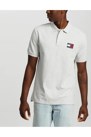 TOMMY BADGE POLO - LT GREY HTR