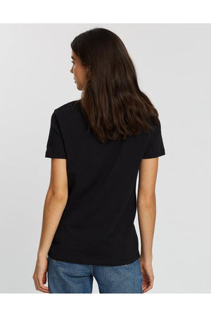 TOMMY HILFIGER WOMENS HERITAGE CREW NECK GRAPHIC TEE BLACK