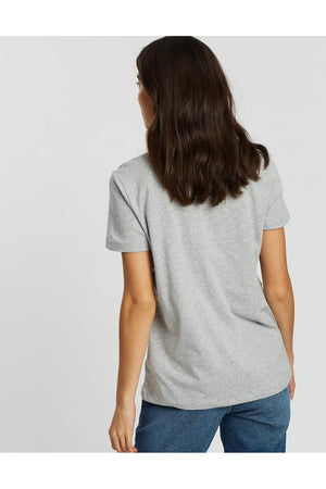 TOMMY HILFIGER WOMENS HERITAGE CREW NECK GRAPHIC TEE GREY