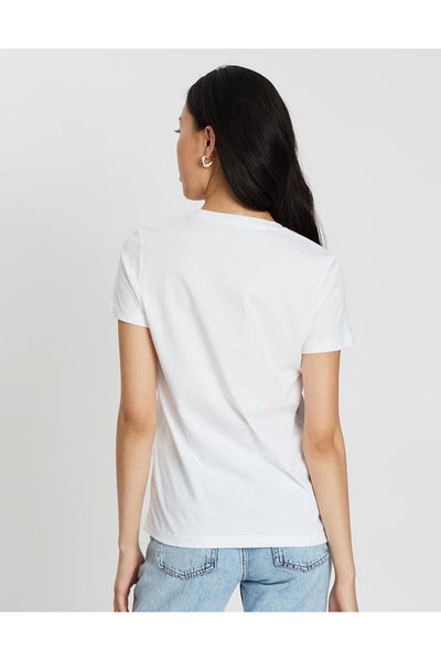 TOMMY HILFIGER WOMENS HERITAGE CREW NECK GRAPHIC TEE WHITE