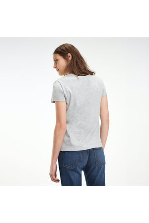 TOMMY HILFIGER WOMENS HERITAGE CREW NECK TEE LIGHT GREY HEATHER