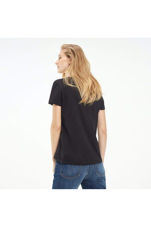 TOMMY HILFIGER WOMENS HERITAGE CREW NECK TEE MASTERS BLACK