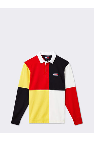 TOMMY JEANS STREET ARCHIVES UNISEX COLOUR BLOCKED RUGBY SHIRT DEEP CRIMSON