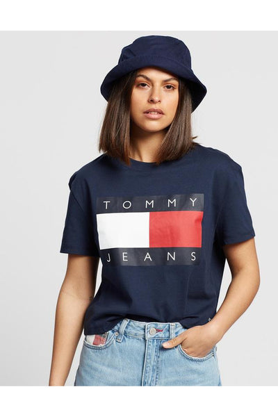 TOMMY JEAN WOMENS FLAG TEE TWIGHTLIGHT NAVY