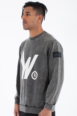 WNDRR FLIGHT CREW SWEAT WASHED BLACK