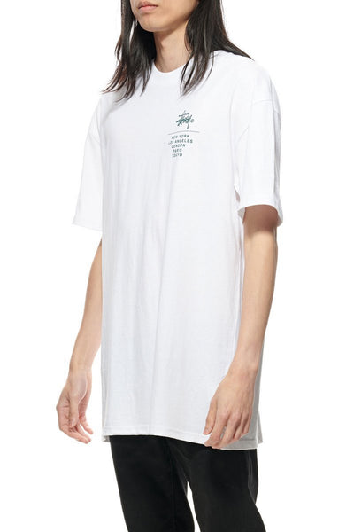 STUSSY LEFT CHEST CITY STACK SS TEE SOLID WHITE