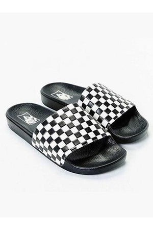 VANS CHECKERBOARD SLIDES - BLACK