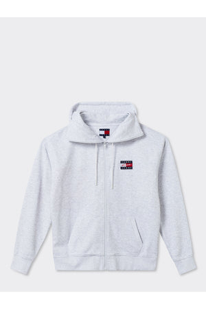 TOMMY JEANS STREET ARCHIVES UNISEX ZIP-THRU FLAG HOODIE SILVER GREY HEATHER