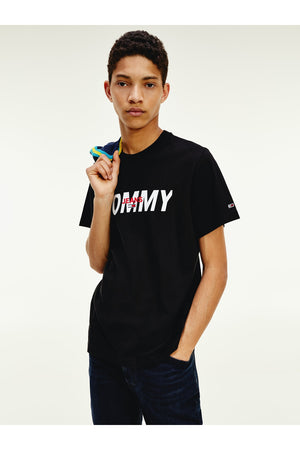 TOMMY JEANS TJM LAYERED GRAPHIC TEE BLACK