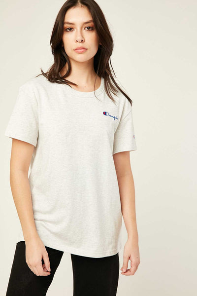 CHAMPION WOMENS THE BOYFRIEND TEE SILVER GREY