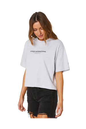 STUSSY WOMENS TEXT WAISTED OS TEE SNOW MARLE