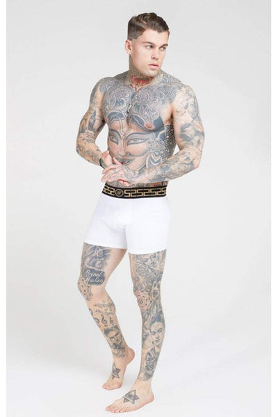 SIKSILK CARTEL TAPER BOXER SHORTS (2 PACK) - BLACK & WHITE