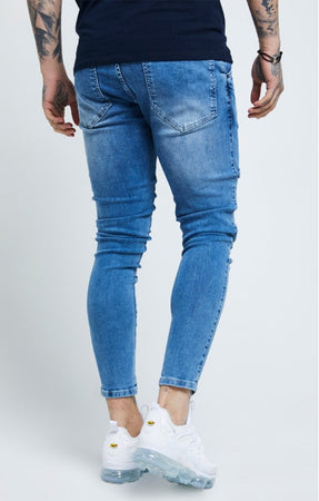 SIKSILK DISTRESSED SKINNY DENIMS - MIDWASH