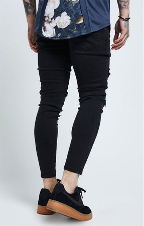 SIKSILK DISTRESSED SKINNY JEAN - BLACK