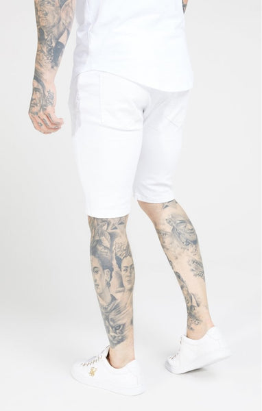 SIKSILK DISTRESSED SKINNY SHORTS - WHITE