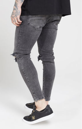 SIKSILK SKINNY DISTRESSED SLICE KNEE DENIMS - DARK GREY