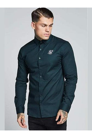 SikSilk L/S Cotton Stretch Shirt – Dark Green