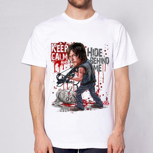 WD - Keep calm, hide behind me male T-shirt - FanLuxury