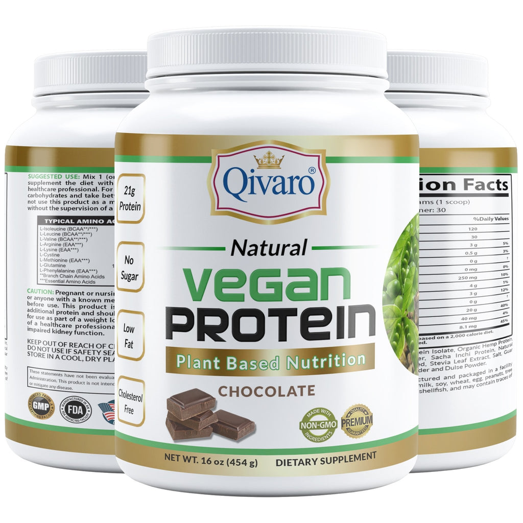 Chocolate Vegan Protein by Qivaro (454 grams) - Qivaro USA