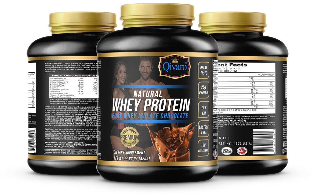 Natural Whey Protein w/ pure whey isolate - Chocolate By Qivaro - 420 grams - Qivaro USA