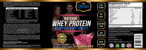 Natural Whey Protein w/ pure whey isolate - Strawberry Flavor - By Qivaro - 420 grams - Qivaro USA