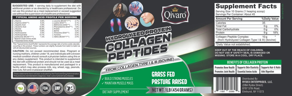 QWN04A HYDROLYZED COLLAGEN PEPTIDE PROTEIN POWDER 1 LB (454 GRAMS) - Qivaro USA
