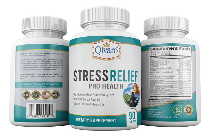 Stress Relief Pro Health By Qivaro - (90 tablets) - Qivaro USA