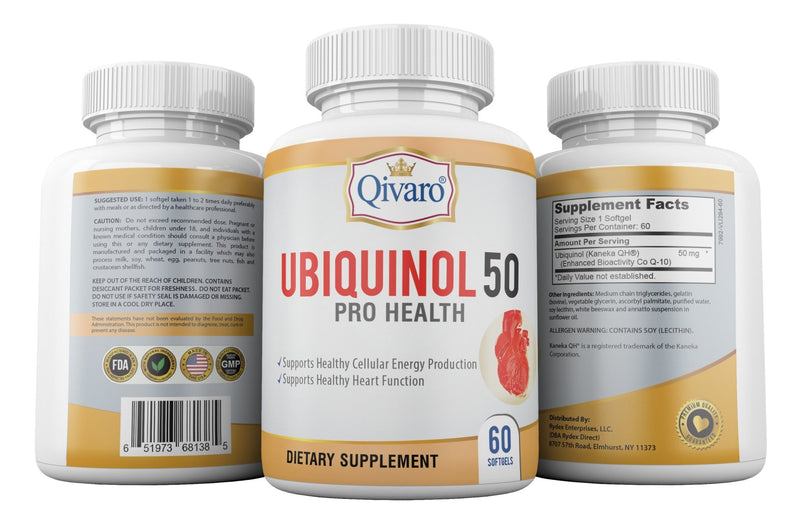 Ubiquinol 50 Pro Health 還原型COQ10 (60 softgels) - Qivaro USA