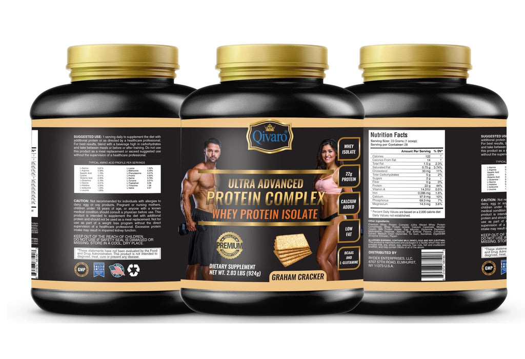 Ultra Advanced Whey Protein Complex - Graham Cracker 超級健肌乳清蛋白粉全麦曲奇 924 grams - Qivaro USA
