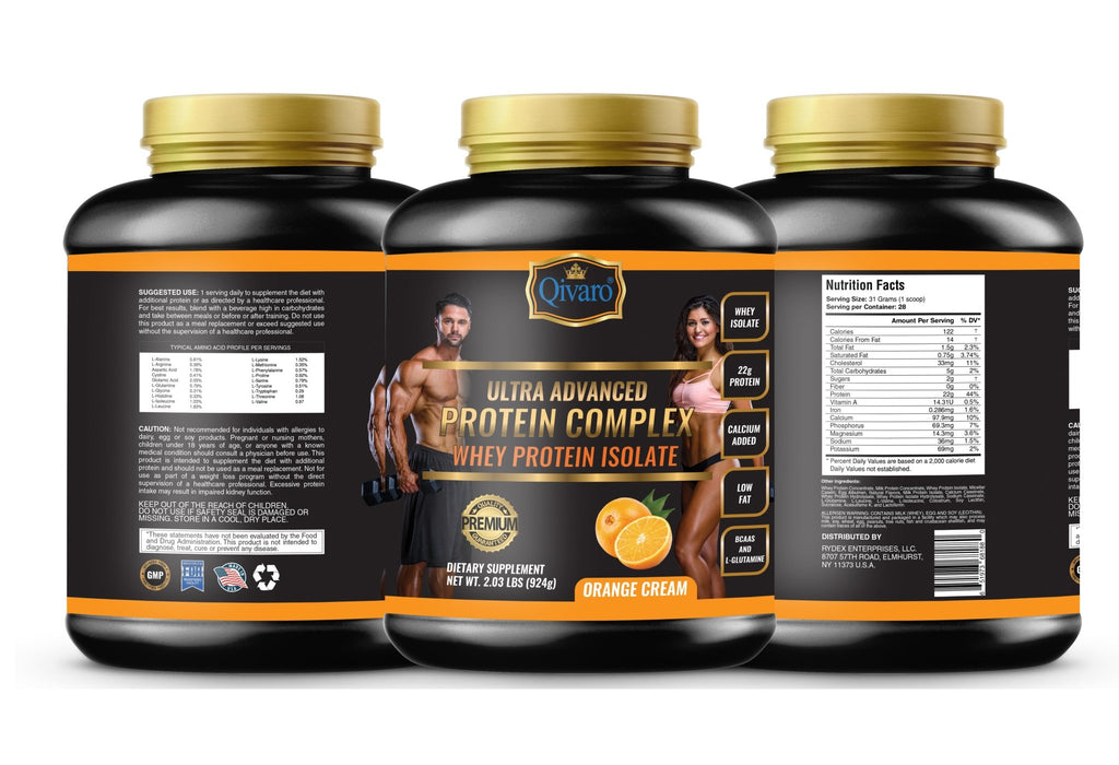 Ultra Advanced Whey Protein Complex - Orange Cream 超級健肌乳清蛋白粉橙果 924 grams - Qivaro USA