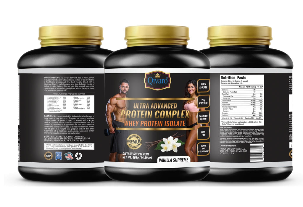 Ultra Advanced Whey Protein Complex - Vanilla Supreme 超級健肌乳清蛋白粉雲呢拿 408 grams - Qivaro USA