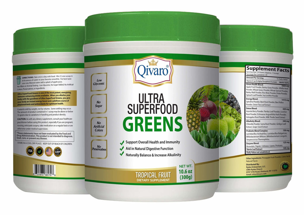 Ultra SuperFood Greens 超级免疫绿果寶 - Tropical Fruit (300 grams) - Qivaro USA