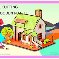 Aryellys Natural Wood 3D Puzzle Tiny House Collection Wooden Jigsaw Craft Building Set (Green Apple Fairyland)
