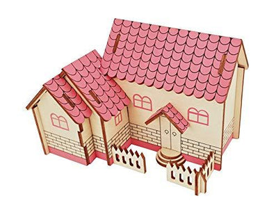 Aryellys Natural Wood 3D Puzzle Tiny House Collection Wooden Jigsaw Craft Building Set (The Purple House)
