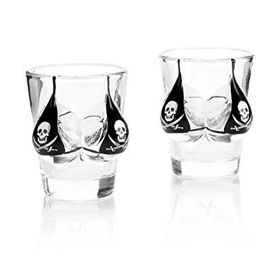Bikini Shot Glasses Pirate Design  set of 2 Fathers Day Gift  2oz