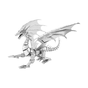 Fascinations Metal Earth Iconx Silver Dragon 3D Metal Toy Guide and Tweezers